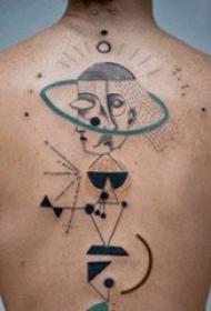 男生喜爱的个性几何元素抽象线条纹身图案