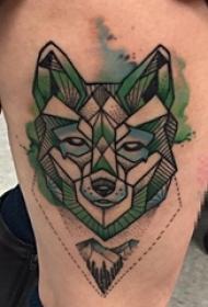 女生腿上水彩点刺技巧几何线条狼与风景纹身图片