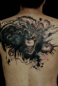 后背彩绘齐天大圣孙悟空头像纹身图案