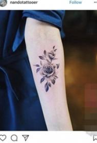 女生手臂上黑色素描文艺小清新唯美花朵纹身图案