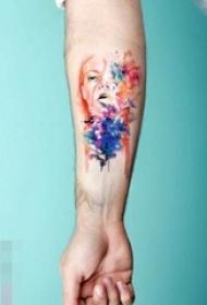 漂亮的彩绘技巧抽象线条纹身图案
