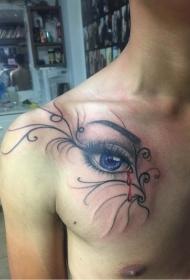 男性胸部逼真的眼睛藤蔓纹身图案
