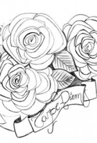 黑色线条素描唯美花朵花团和花体英文纹身手稿