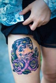 女性腿部时尚好看的汪星人玫瑰花纹身图案