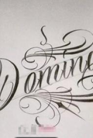 黑色线条素描创意个性花体英文纹身手稿