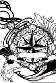 黑色的几何素描风格指南针和船锚纹身手稿