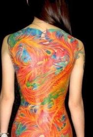美女满背精彩的凤凰纹身图案