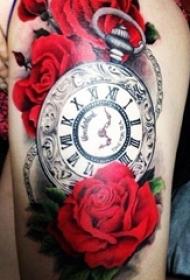 一组创意个性复古怀表纹身图案