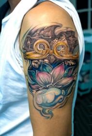 手臂上紧箍咒与莲花彩绘纹身图案
