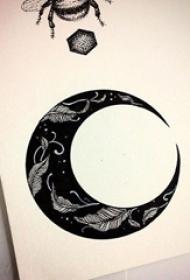 黑色素描创意树叶月亮文艺小清新唯美纹身手稿