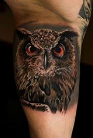 男生小腿上黑灰素描超写实3d猫头鹰纹身图片
