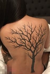 女生背部黑色植物素材抽象线条生命树纹身图片