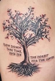 男生手臂上彩绘树纹身图片