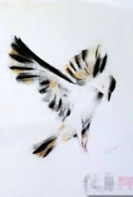 彩绘虚实结合水墨唯美小鸟纹身手稿