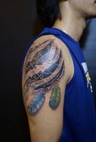 男性手臂3d撕皮捕梦网纹身