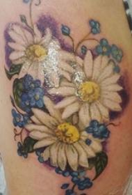 女生大腿上彩绘水彩文艺小清新唯美花朵纹身图案