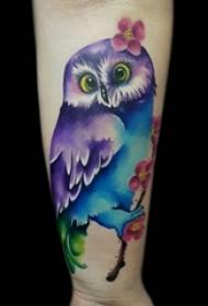 多款特别的小动物简单线条猫头鹰纹身图案