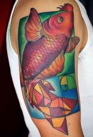 手臂几何图形与鲤鱼彩绘纹身图案
