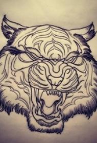 黑色线条素描创意花纹霸气老虎头纹身手稿