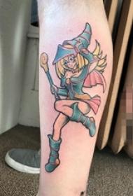 女生手臂上彩绘动漫卡通小精灵女孩纹身图片