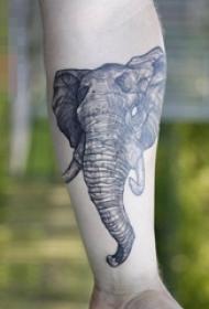 男生手臂上黑色素描创意动物大象纹身图片
