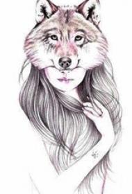 适合女生的彩绘狐狸少女纹身手稿图片