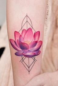手臂好看的红莲花几何纹身图案