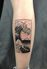 女生手臂上黑色素描海浪花文艺小清新纹身图片