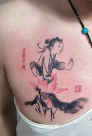 胸部经典的水墨莲花孩童纹身图案