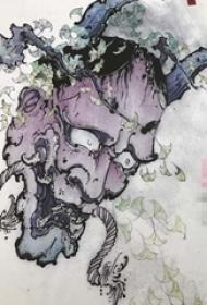 创意彩绘植物纹身般若纹身手稿素材