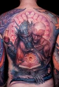 男生满背彩绘几何元素抽象线条人物肖像纹身图片