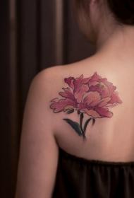 后背傲世而独立的牡丹花彩绘纹身图案