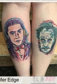 女生腿上彩绘技巧简约线条人物肖像纹身图片