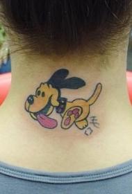 颈部可爱的卡通狗狗纹身图案