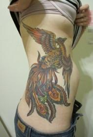 女生侧腰彩绘水彩创意个性霸气凤凰纹身图片
