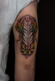 手臂个性羽毛叶子彩绘纹身图案