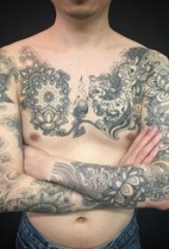 霸气十足的创意黑色素描龙图腾花臂纹身图案