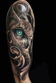多款个性的小动物抽象线条猫头鹰纹身图案