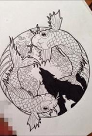创意黑灰色浪花鲤鱼与狼匹纹身手稿素材