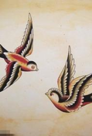 彩绘素描创意个性文艺小清新小鸟纹身手稿