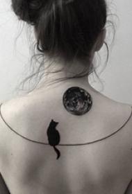 唯美的几何元素简约线条月亮纹身图案