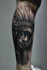 小腿印第安老人肖像写实纹身图案