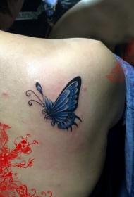 背部蓝色的蝴蝶炫彩纹身图案