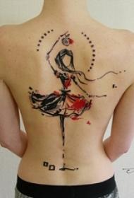 女生背部彩绘素描创意可爱跳舞女生人像纹身图片