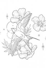 个性的黑色抽象线条植物花朵和小鸟纹身手稿