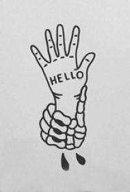 创意的黑色抽象线条手部和英文纹身手稿