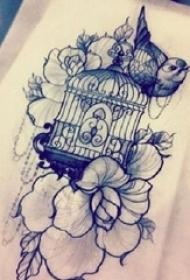 黑色简单线条植物花朵和小动物小鸟纹身手稿