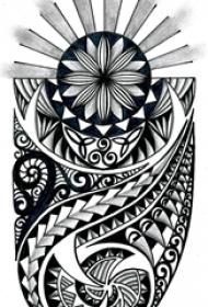 黑灰素描创意图腾霸气花纹纹身手稿