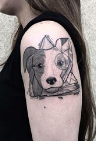 女生手臂上黑灰素描创意狗头纹身图片