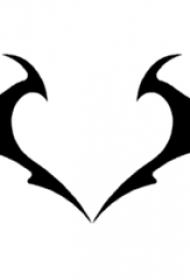 黑色线条创意心形翅膀图腾纹身手稿